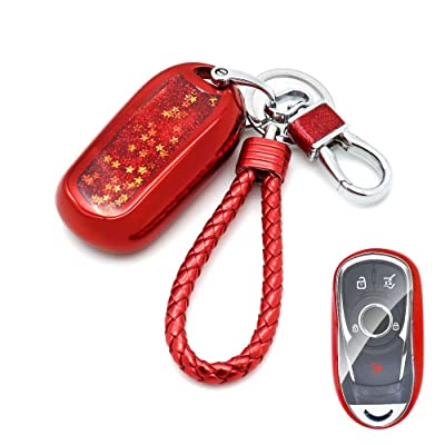 Senauto Quicksand Full Cover Key Fob Cover Case Key Chain for 2020 2020 2020 Buick Encore Envision Lacrosse Regal Enclave (Red): Automotive
