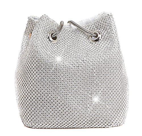 HopeEye Femmes Tendances de la mode Polyester Clutches femme Diamants banquet mariage porte-monnaie Messenger Bag(mxdwyb02-1-Golden) 3-blanc Argenté
