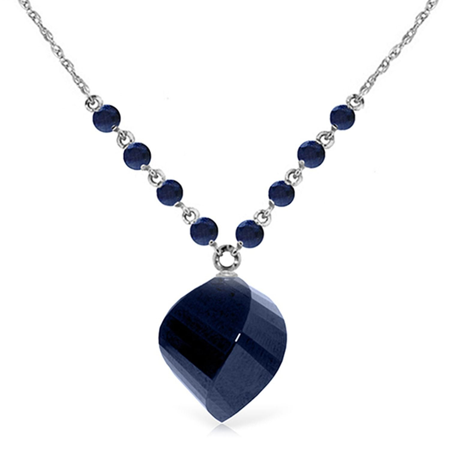 ALARRI 16.25 Carat 14K Solid White Gold Love The Hunt Sapphire Necklace with 24 Inch Chain Length