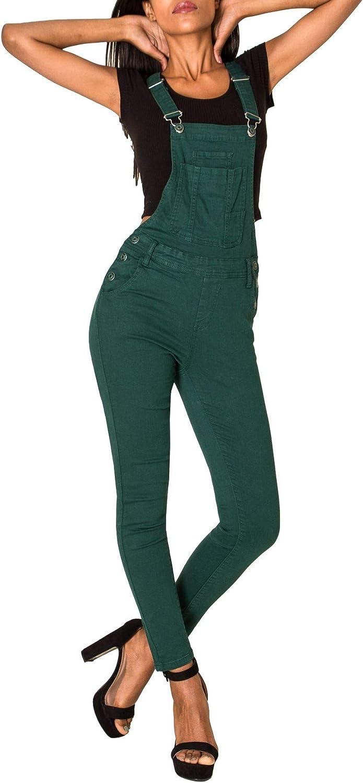 L Gr/ö/ße:40 EGOMAXX Damen Jeans Latzhose Skinny Boyfriend Latzjeans Overall Hose Farben:Gr/ün