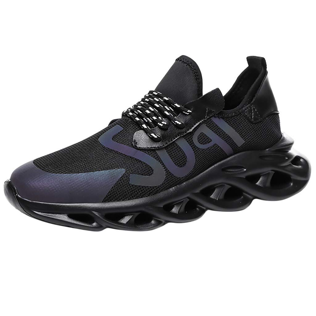 Street Sneakers Men Work Sneakers ✔ Fashion Mens Sneakers Non-Slip Breathable Athletic Running Walk Casual Shoes Black