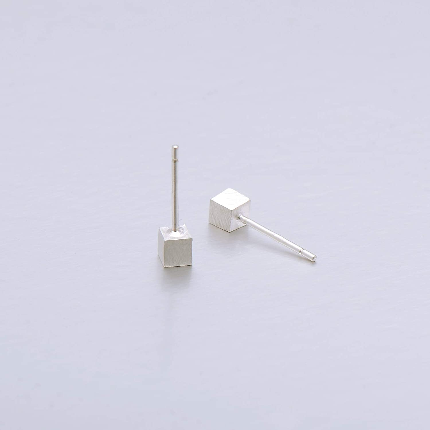 925 Sterling Silver Imperfect Tiny Cube Studs Earrings