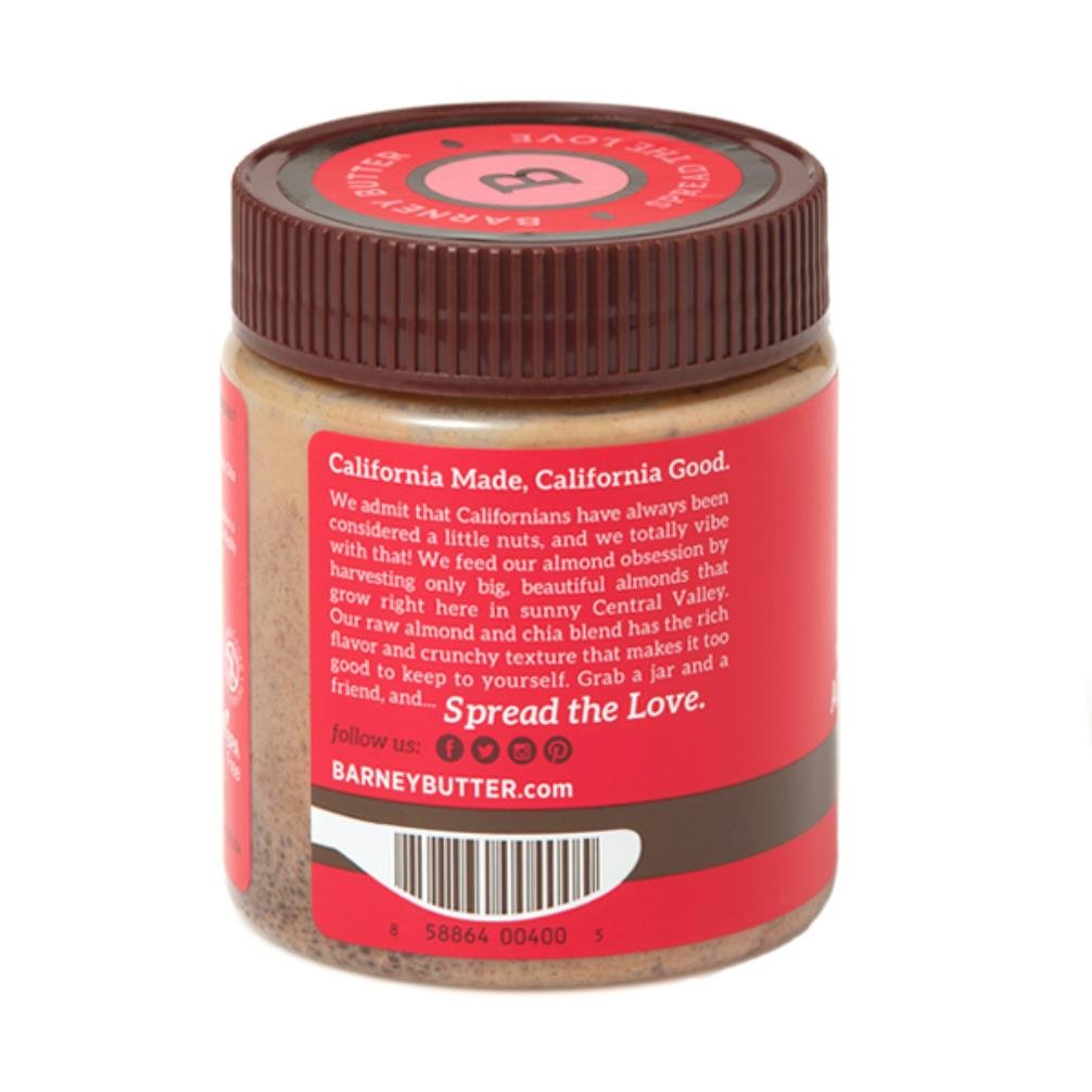 Barney Butter Almond Butter, Raw + Chia, 10 Ounce