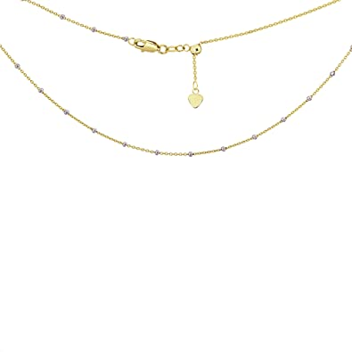 92c36393b8d045 Image Unavailable. Image not available for. Color: Choker Necklace Saturn  Style Chain 14k Yellow and White Gold - Adjustable