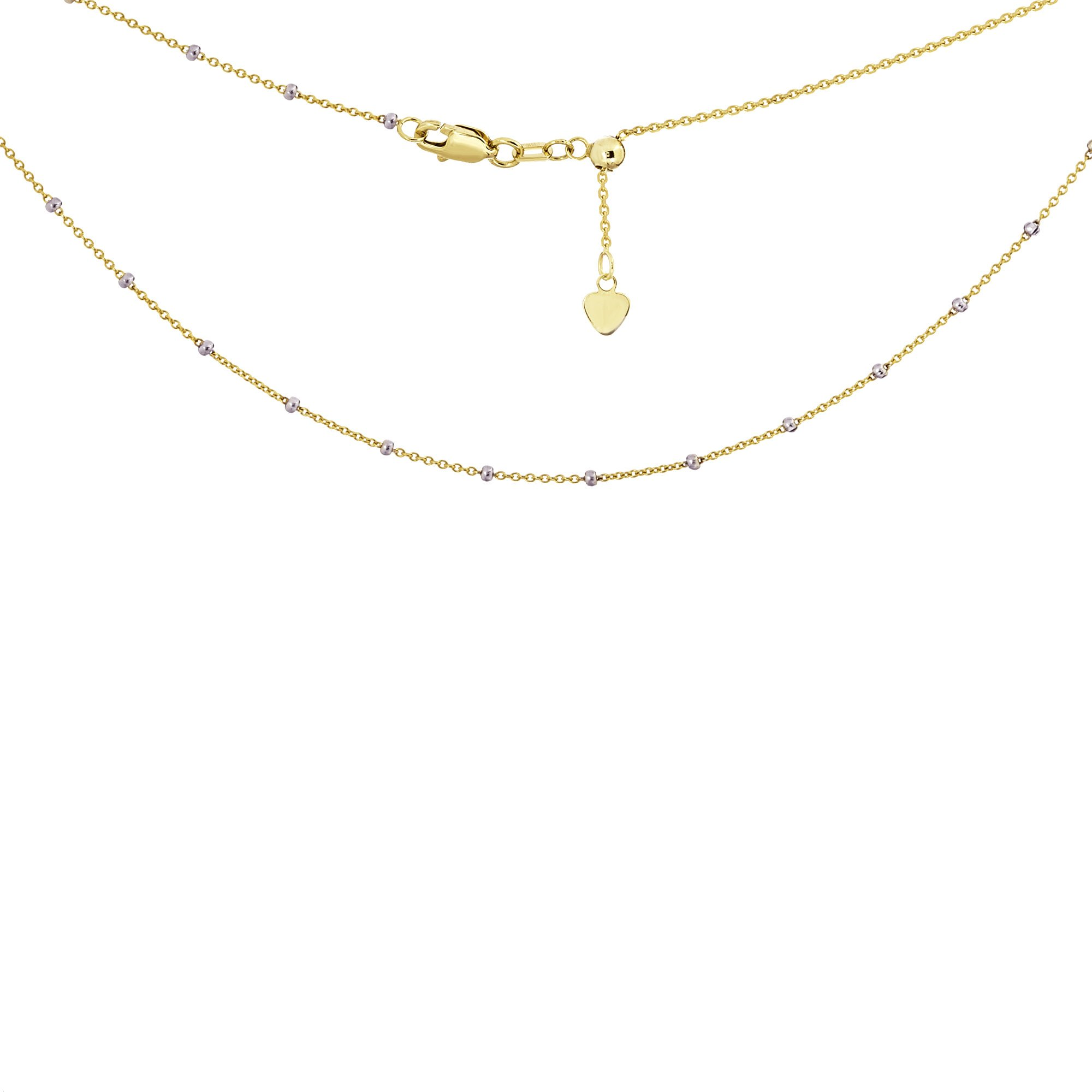 Choker Necklace Saturn Style Chain 14k Yellow and White Gold - Adjustable