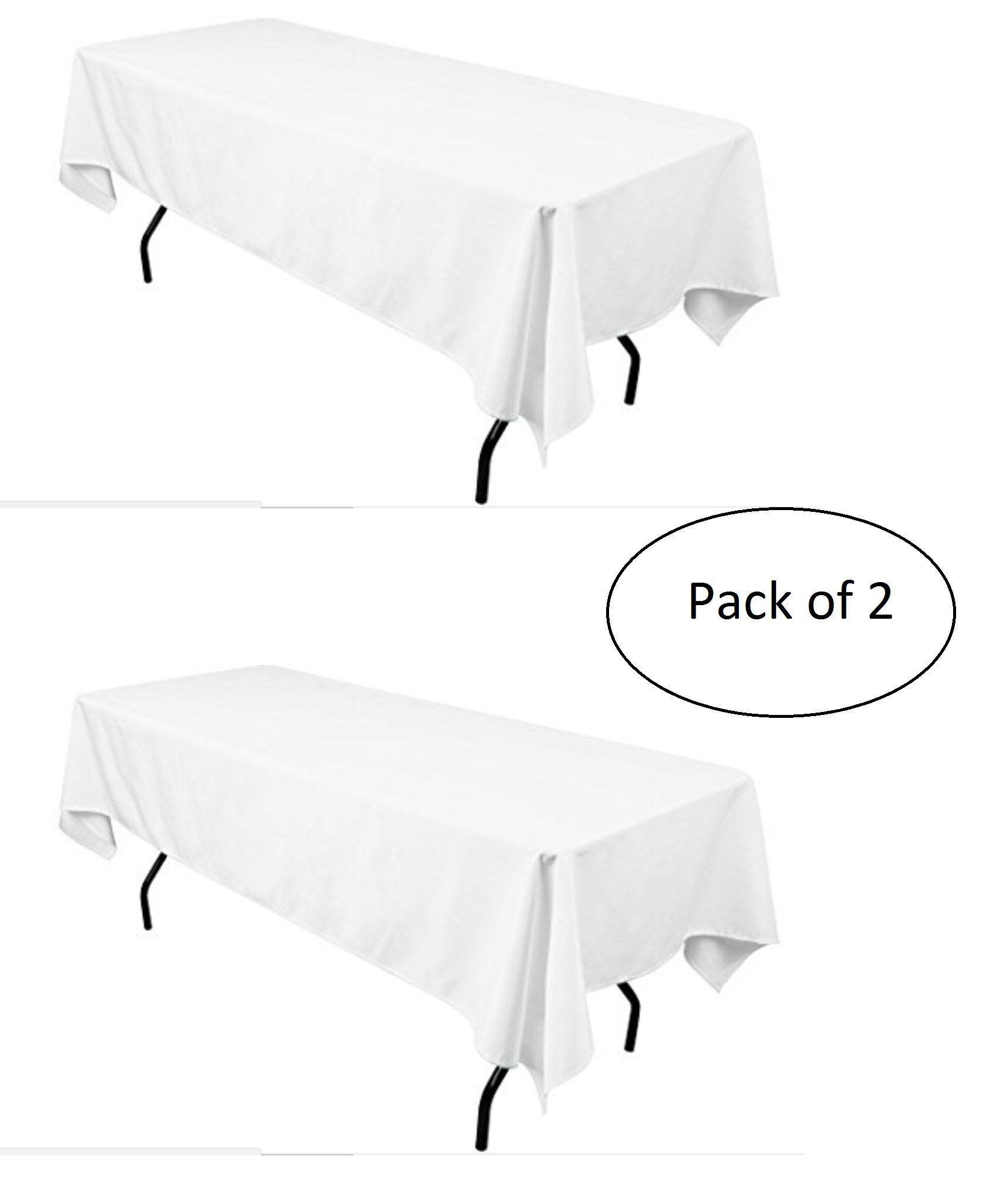 LinenTablecloth 60 x 102-Inch Rectangular Polyester Tablecloth White (Pack of 2)