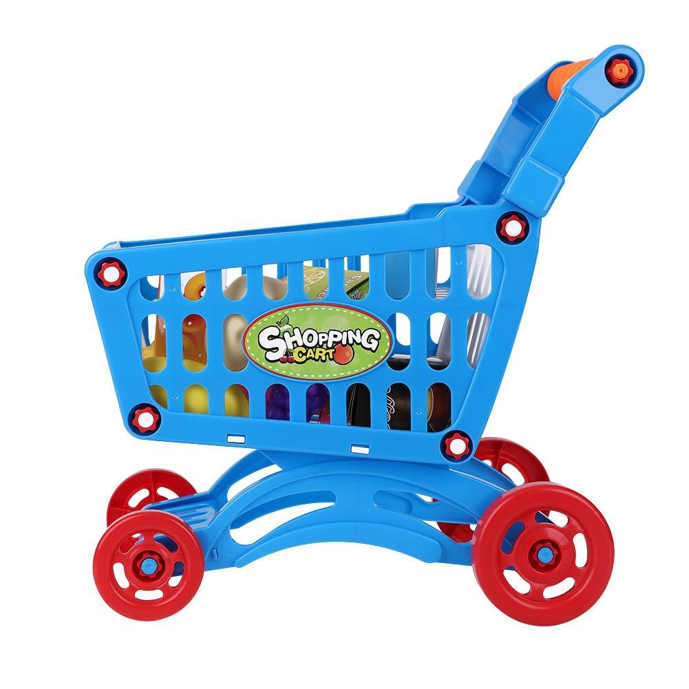 Kids Shopping Cart Precious Toys Kids Toddlers Pretend Role Play Food Fruits Playing Game with Groceries(Blue with Food) by Fdit (Image #9)