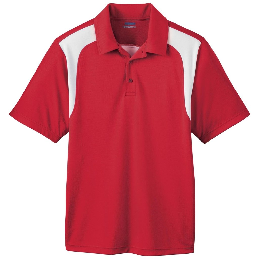 Ash City Mens E Performance Polo Shirt (XX-Large, Classic Red/White) by Ash City Apparel