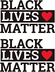 Black Lives Matter Sticker - 2 PCS Vinyl Decal BLM Sticker Laptop Stickers Wall Decal Waterproof BLM Car Sticker Bumper Stickers Car Window Stickers and Decals 10.6''x6.3''