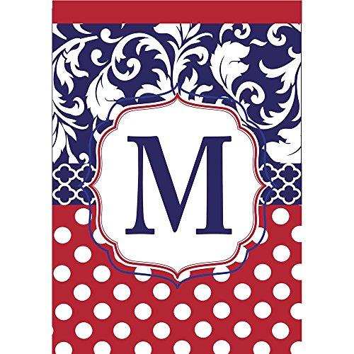 Monogram M Red White Polka Dot and Filigree Blue 18 x 13 Rectangular Applique Small Garden Flag