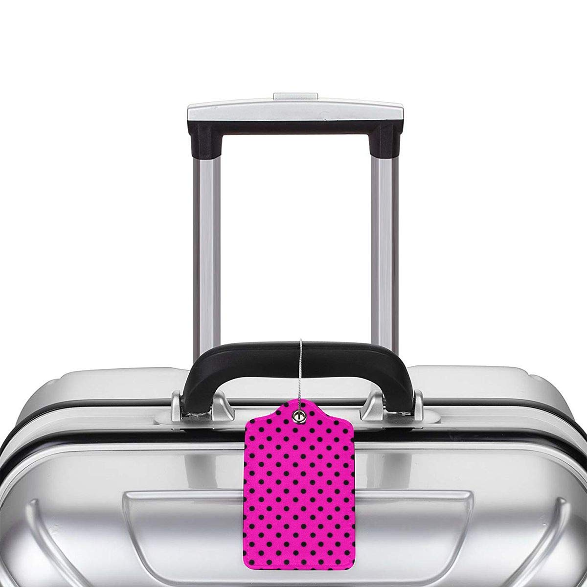 Polkadot-Pink Leather Luggage Tags Personalized Extra Address Cards With Adjustable Strap