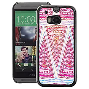 A-type Arte & diseño plástico duro Fundas Cover Cubre Hard Case Cover para HTC One M8 (Pattern Pink Art Hand Drawing)