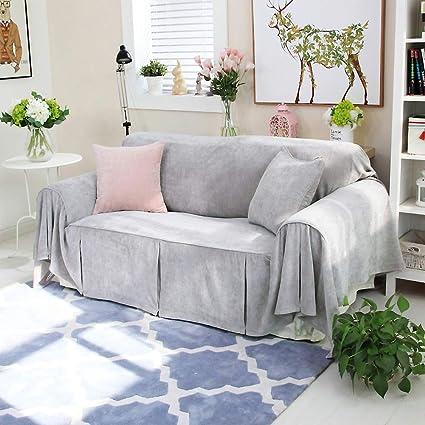 Amazon.com: Solid Color Plush Sofa Cover, 1-Piece Anti-Slip ...