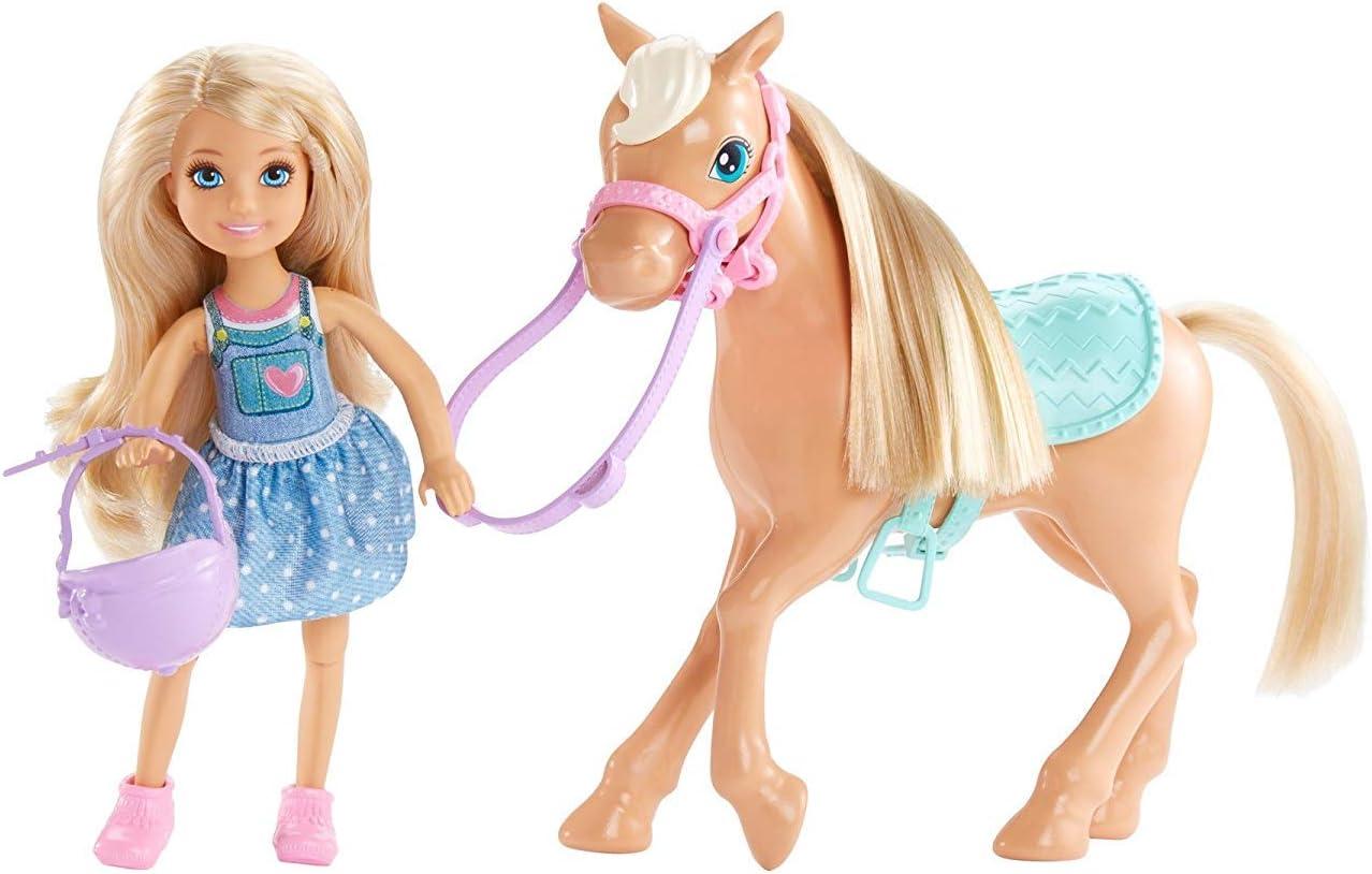 Barbie Chelsea, muñeca con Pony y accesorios (Mattel DYL42)