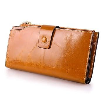 3998fc88e71 Monedero de bolsillo para mujer Carpeta de bloqueo RFID de las mujeres Con  cremallera de cuero