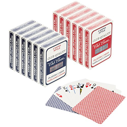Club Classic (Set of 12) Playing Cards Bulk Plastic Casino Style Decks Professional Poker & Games by Playing Cards