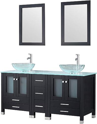 Sliverylake 60″ Black Double Sink Bathroom Vanity and Vessel Sink