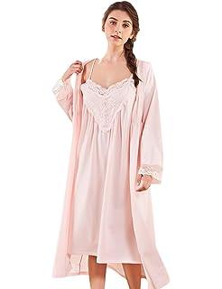 AIKOSHA Womens Retro Palace Princess Style Full Sleeve Two Piece Lace Cotton  Nightdress Set 63ca8bfc5