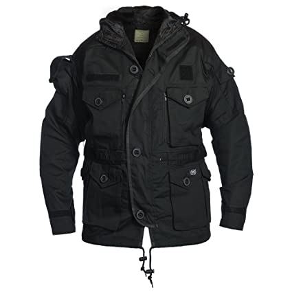 Amazon.com: MFH Mens Commando Jacket Smock Black Size M ...