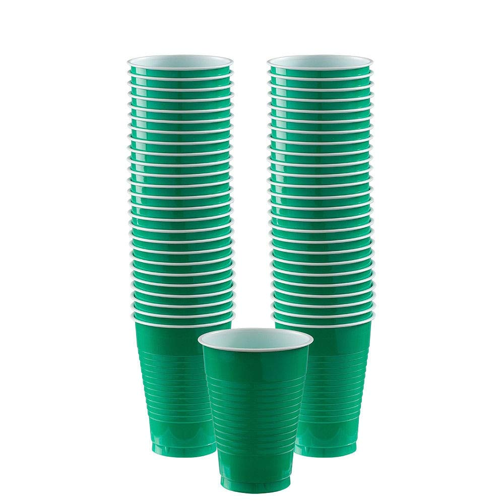 Amscan Festive Green Plastic Tableware Kit for 50 Guests, Party Supplies, Includes Table Covers, Plates, Cups and More by amscan (Image #5)