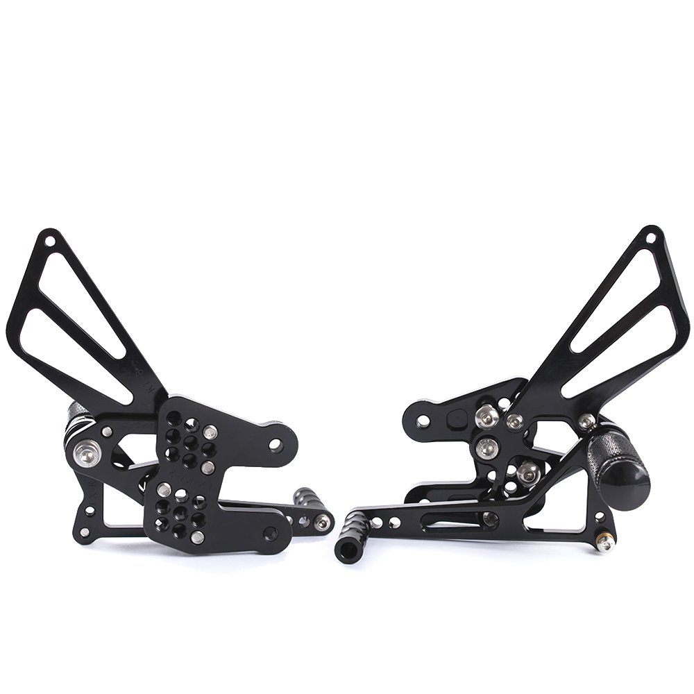 For Motorcycle Rearsets Rear Foot Pegs CNC Rear set Footrests Fully Adjustable Rear Foot Boards DUCATI 848//848 EV0 2008-2013, black