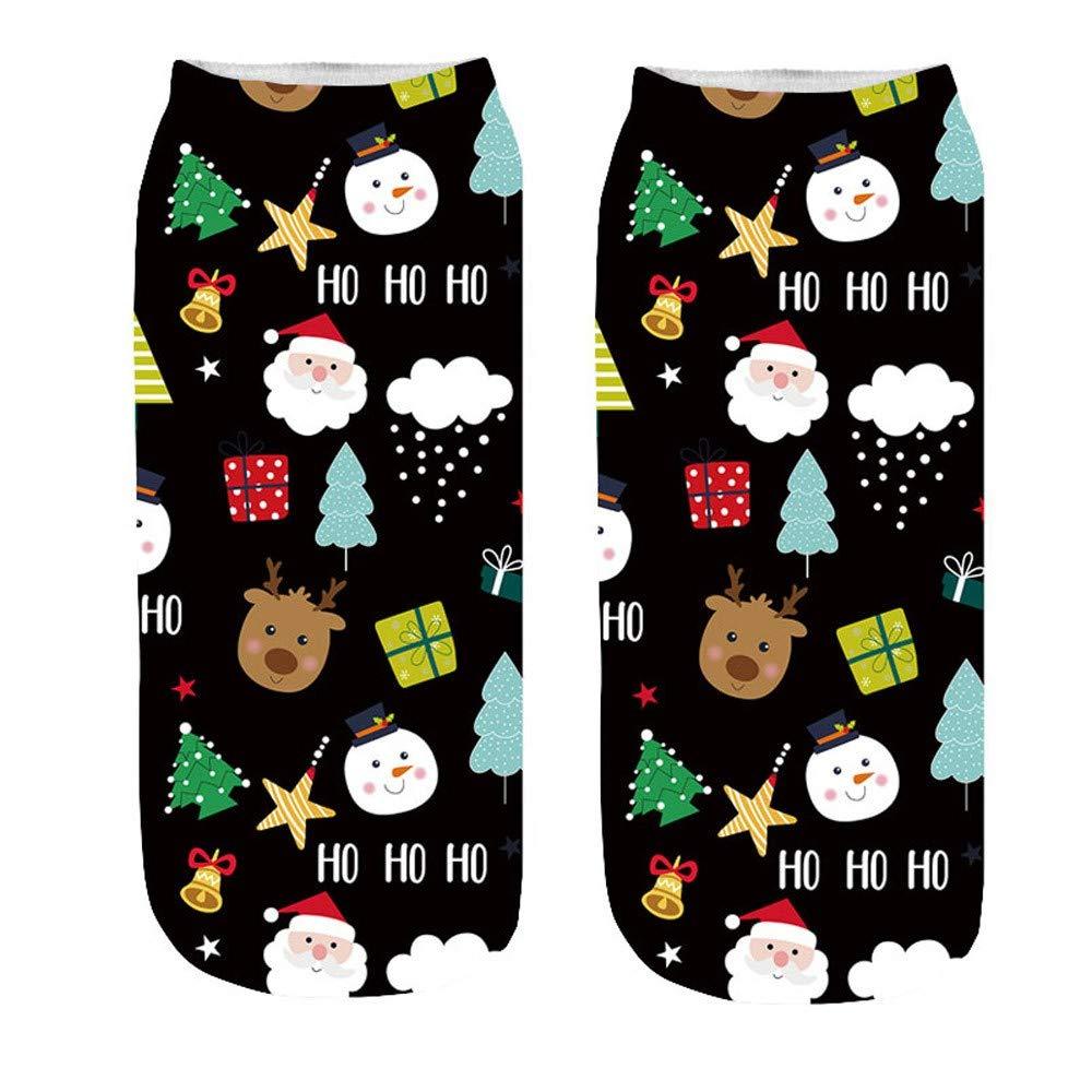 Calzini Donna Divertenti Inverno 3D Stampa di Fumetto Buon Natale Babbo Natale Renna Fantasia Calze Antiscivolo Unisex Calze di Natale Regali di Capodanno Calzini di Natale