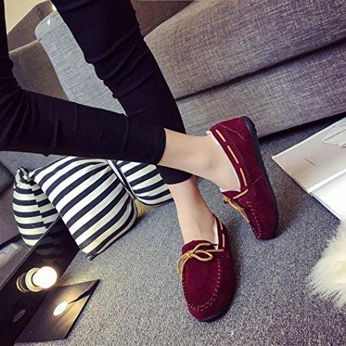 2018Women Moccasin Shoes Anti Indoor Slippers Wine Suede Outdoor Comfort Peas Elevin Shoes TM Slip Winter fqZ7Tw5x
