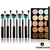 Fashion Base 15 Colors Contour Face Cream Makeup Concealer Palette With 10PCS Makeup Brushes Set Eyeshadow Brush (15 Color Concealer Palette&   10PCS  Black and Blue Head  Eyeshadow Brushes)
