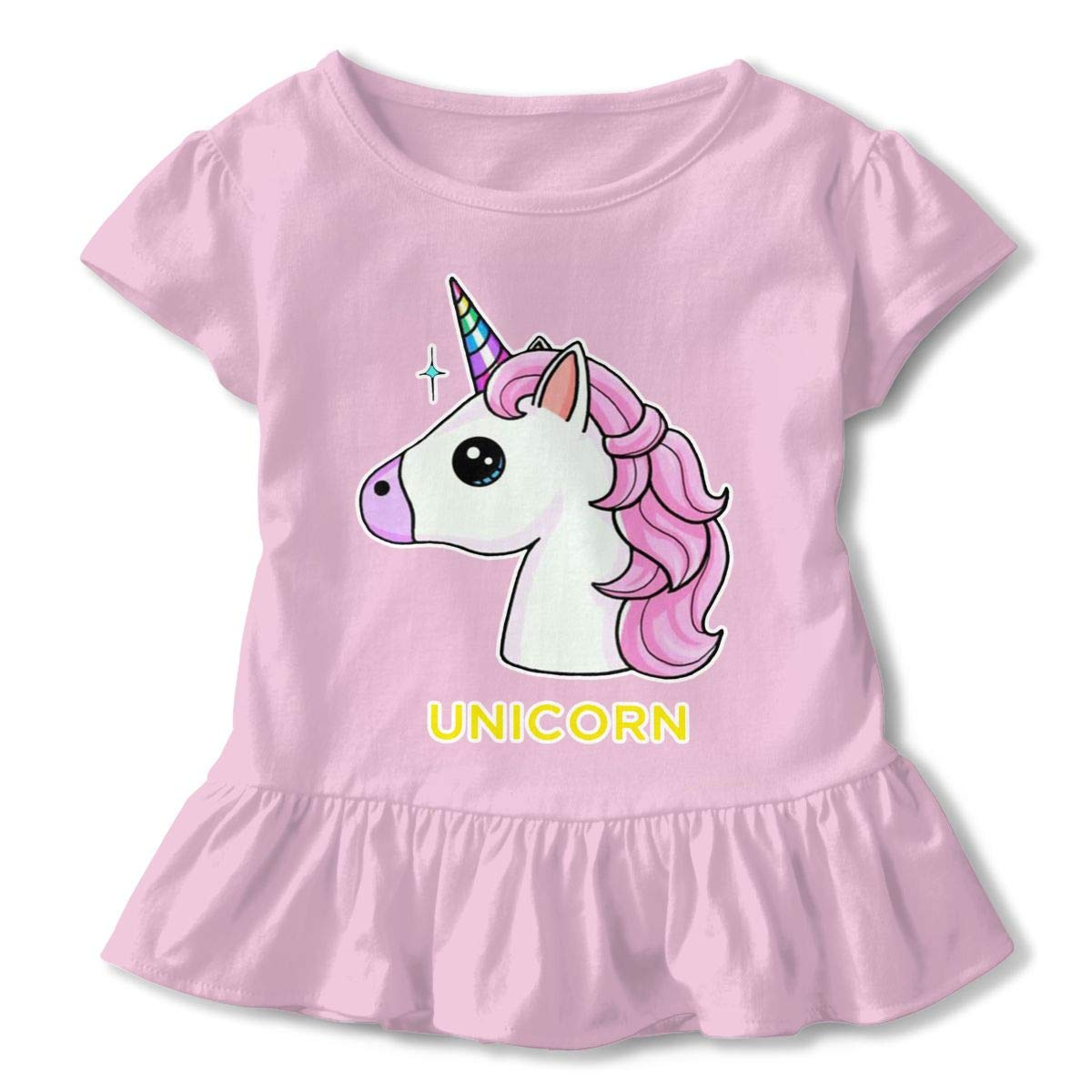 Pink Unicorn Toddler Ruffle T-Shirt Cotton Tees for 2-6T