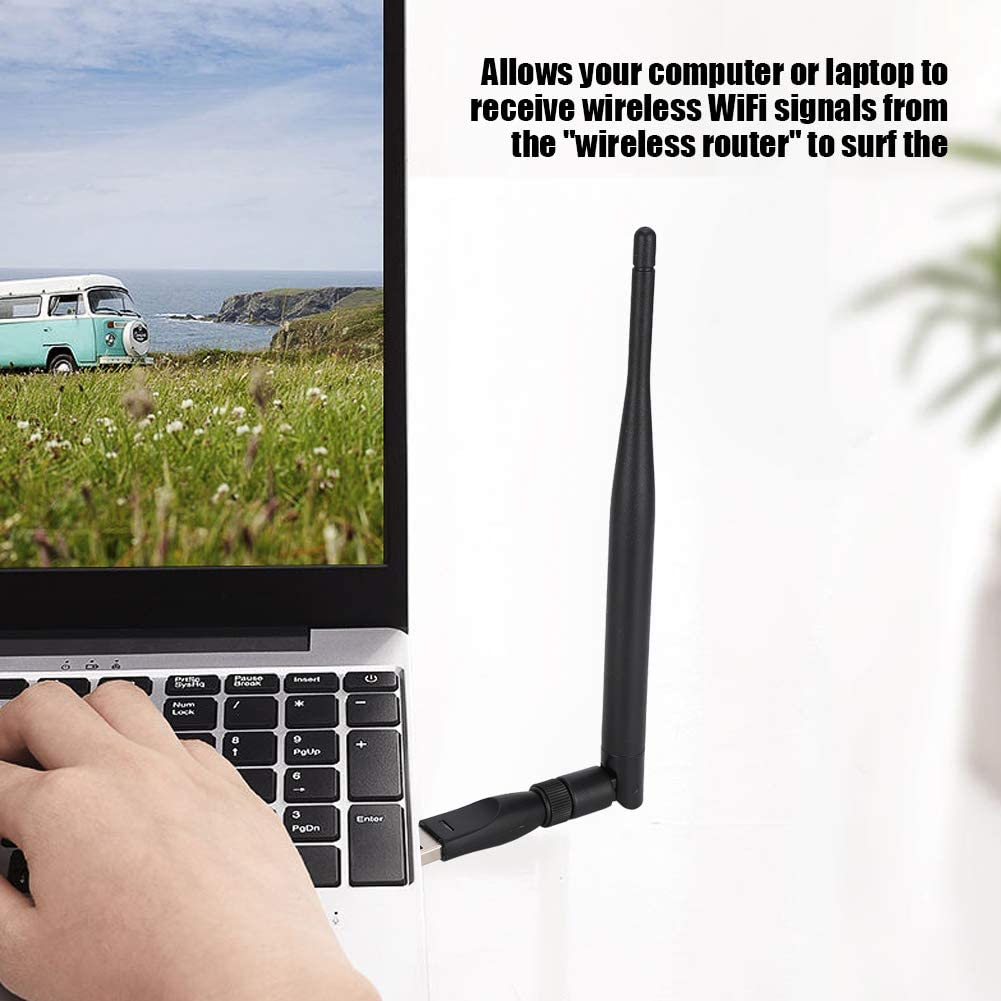Wendry Network Card Antenna,Mini Network Card Antenna Adapter,High Sensitivity USB WiFi Receiver,RT5370 Chip,with Stable Performance 300m