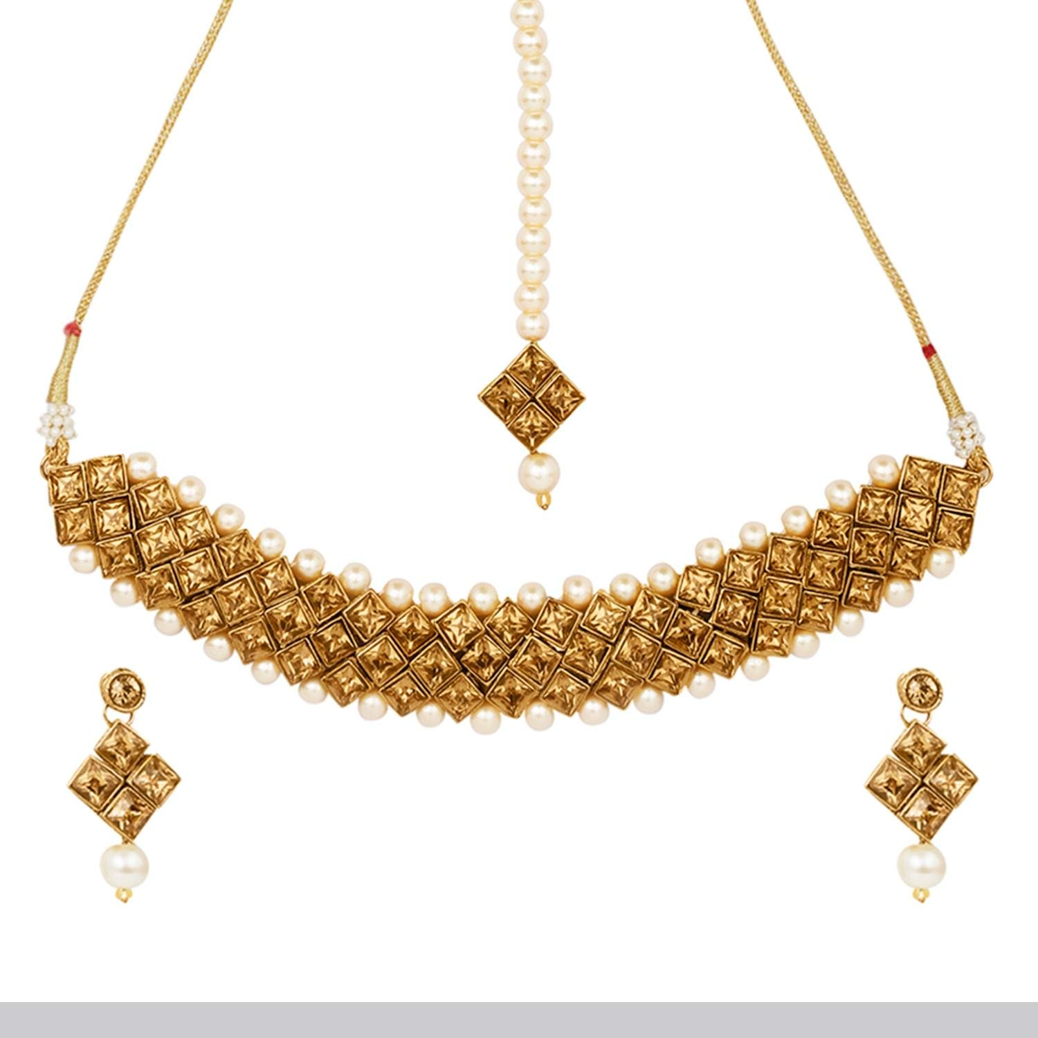 Efulgenz Indian Bollywood Traditional 14 K Gold Plated Kundan Crystal Pearl Wedding Bridal Choker Necklace Earrings Jewelry Set Jaipur Art Jewellery MNT548