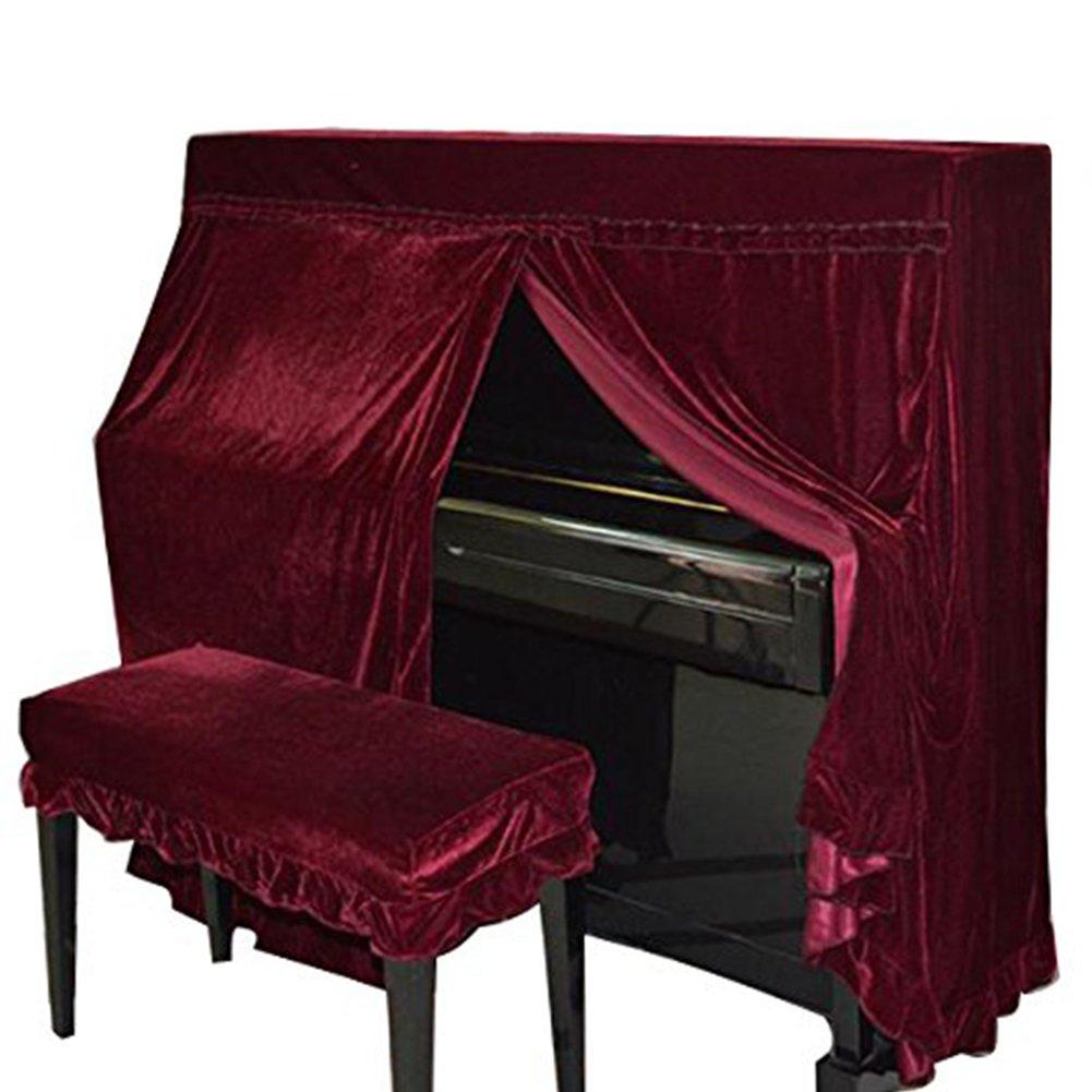 Domii. Home Housse de piano poussière en velours et Piano Banc de double Coque décoré avec macramé Protègent de la poussière et des rayures noir Domii.home