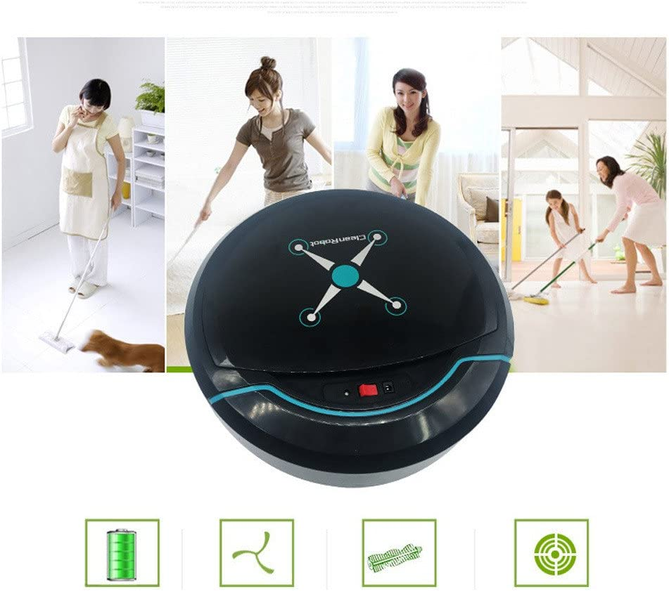 Black Glumes Smart Robot Vacuum Cleaner Usb Charging Noiseless with Intelligent Sensors Automatically Dodge Best For Pet Hair Hard Floors Ideal Gift BF Sales Ship from US! Carpets