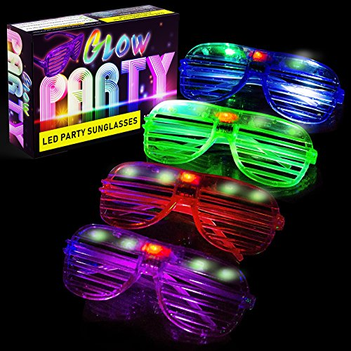 LED Glasses & Kids Party Favors - 12 Neon Glow in The Dark Parties Supplies for Goody Bags and Teen Birthdays - Bulk Light Up Shutter Shades Fun for All Ages Glowing Events (12 Pack LED Glasses) -