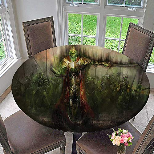 Mikihome Luxury Round Table Cloth for Home use Death King Leading His Army Sword Dem Ghost Revenge Battlefield 35.5
