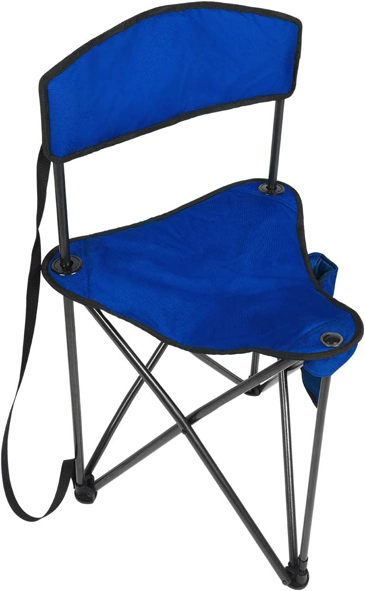PORTAL Extra Large Quick Folding Tripod Stool with Backrest Fishing Camping Chair with Carry Strap