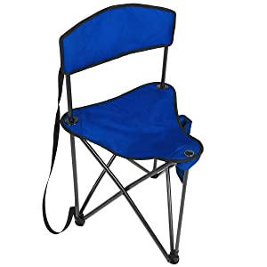 PORTAL Extra Large Quick Folding Tripod Stool with Backrest Fishing Camping Chair with Carry Strap (Dark Blue)