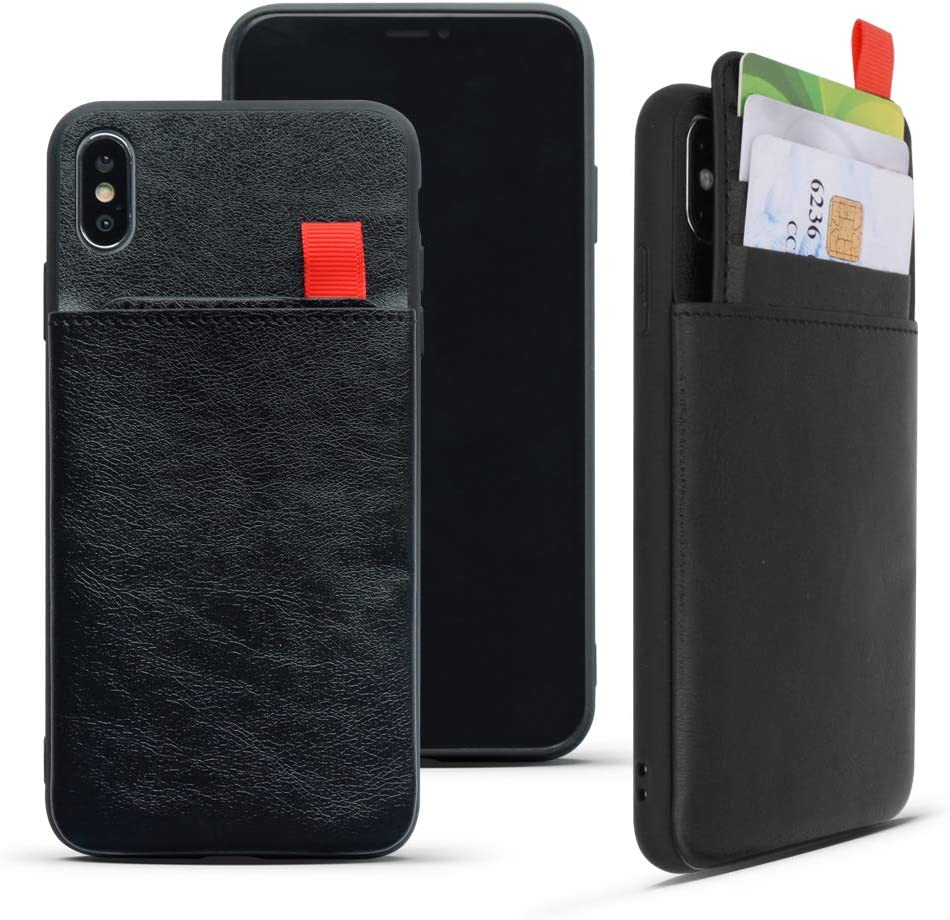 REDTREE Leather Wallet Case for iPhone Xs MAX 6.5'' with Credit Card Cash Slot Shockproof Slim Pocket Protective Cover (Black)