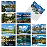 """10 'Reflections' Gratitude and Thank You Cards with Envelopes (4"""" x 5 ¼""""), Featuring Breathtaking Landscapes Reflected in Water, Beautiful Stationery for All Occasions #M1728TY"""