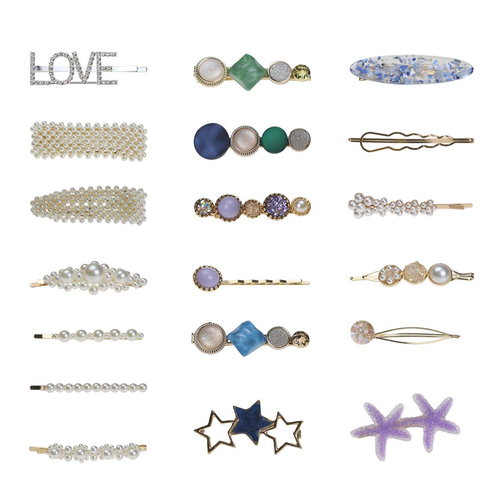 Pearls Hair Clips Acrylic Resin Hair Barrettes for Women Ladies and Girls