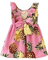 Ruffles Bowknot Girl Dress Pink Pineapple Printed Sleeveless Back V Design for 2-6years
