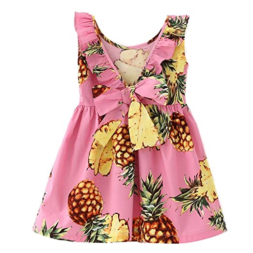 d29bcdb7bb43 Amazon.com  Bestime Hawaiian Girls Dresses Pink Pineapple Yellow ...