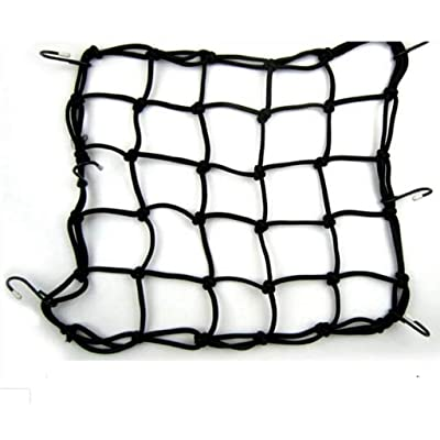 "Allpdesky 2 Pack 15""x15\"" Mfg Cargo Net Made with Premium Latex Bungee Material, 3\""x3\"" Mesh and Rubber-Tipped Super Strong Metal Hooks, Black: Sports & Outdoors [5Bkhe1013822]"