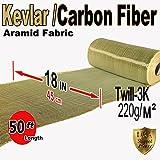 Kevlar Fabric - Yel-18 x 50'-2x2 Twill WEAVE-3K/200g