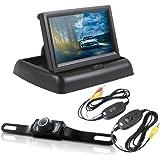 "PolarLander Wireless Reversing Camera HD 4.3"" LCD Foldable Car Monitor with Rear View Camera IR Night Vision Parking…"