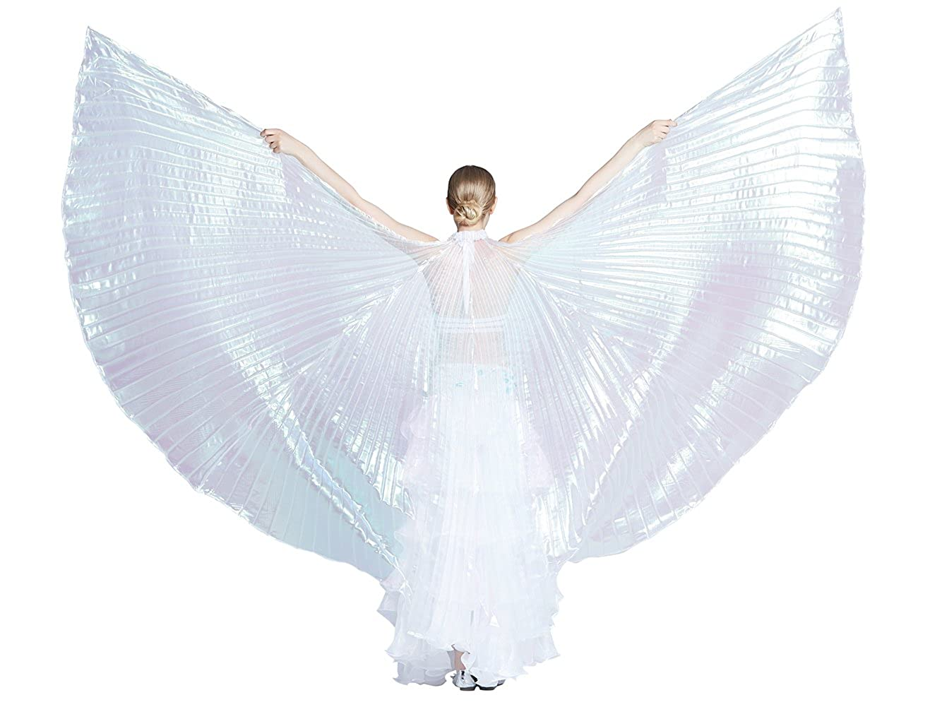 Dance Fairy Belly Dance White Colorful Yarn Iridescent Isis Wings BDCYWNDBS