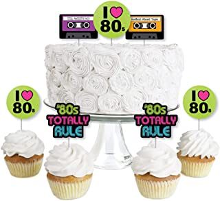 product image for 80's Retro - Dessert Cupcake Toppers - Totally 1980s Party Clear Treat Picks - Set of 24