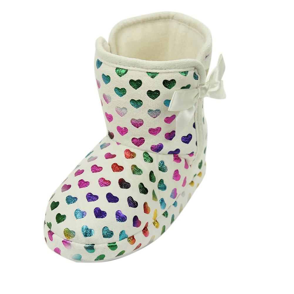 Home Slipper Girls Kid Warm Shine Love Heart Indoor Home House Slip On Boot Slippers Shoe,White,US 12/13