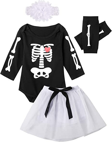 Catpapa - Conjunto de disfraz de calavera de Halloween para niñas ...