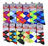 12 Pairs Colorful Fashion Design Dress socks 10-13 (12 Pairs Argyle)